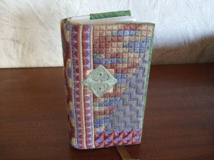 needlepoint book cover designed and stitched by Jocelyn Goodger
