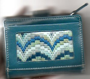 wallet with bargello needlepoint inset
