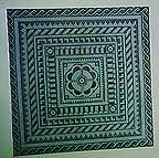 roman mosaic from bath reproduced in blackwork and needlepoint