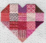 heart needlepoint stitch sampler, designed by Janet Perry in pink