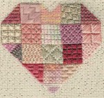 heart needlepoint stitch sampler, designed by Janet Perry in dusty rose
