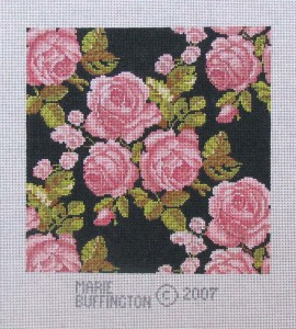 kaleidoscope pink roses, hand painted canvas needlepoint designed by Marie Buffington