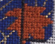 needlepoint leaf in offset mosaic stitch