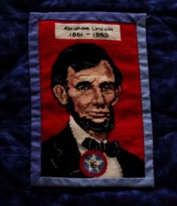 needlepoint portrait of Abraham Lincoln
