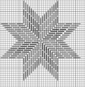 needlepoint chart for eight point star (Connecticut Star) designed by Janet Perry