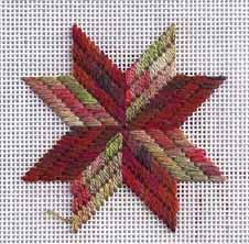 needlepoint eight-pointed star in two colors