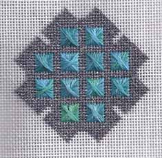 needlepoint christmas ornament, turquoise cross, designed by janet perry