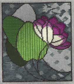 waterlily with needlepoint stained glass background from Dover book, technique developed by needlepoint expert janet m. perry