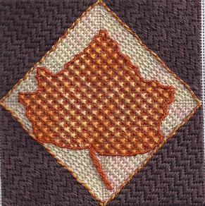 needlepoint fall maple leaf stitched from outline by janet perry