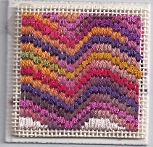 mini bargello needlepoint for sudberry box, hildegard, designed and stitched by needlepoint expert janet m. perry