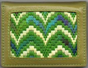 bargello needlepoint coin purse stitched using fingering weight koigu yarn, designed and stitched by needlepoint expert janet m. perry