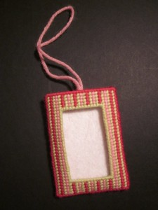 plastic canvas needlepoint picture frame ornament, designed by jenny henry