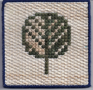 free needlepoint project of pixel tree designed & stitched by needlepoint expert janet m. perry