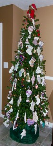 tree of needlepoint ornaments by pat mazu