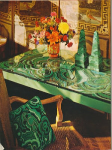 needlepoint malachite table