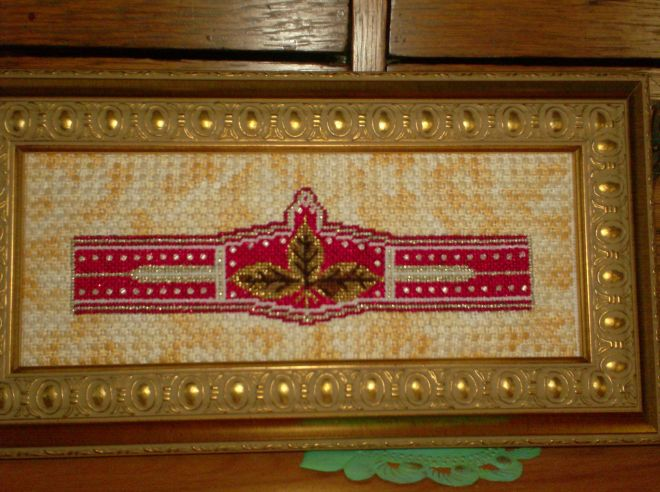 Sharon G canvas, stitched & framed, copyright Napa Needlepoint