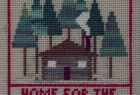christmas cottage charted for needlepoint or cross stitch