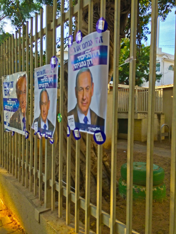Netanyahu banners throughout Tel Aviv