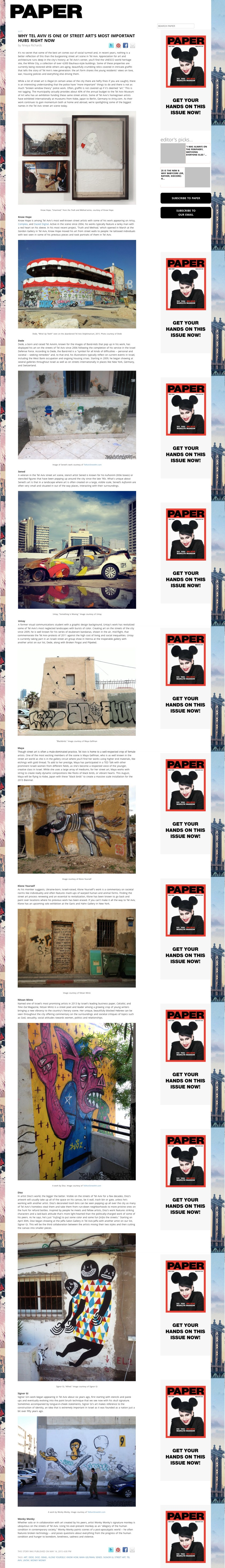 PaperMag.com - 4.14.15 - WHY TEL AVIV IS ONE OF STREET ART'S MOST IMPORTANT HUBS RIGHT NOW