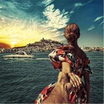 Her dress, her hair, that coastline. So Ibiza, and so perfect. @muradosmann