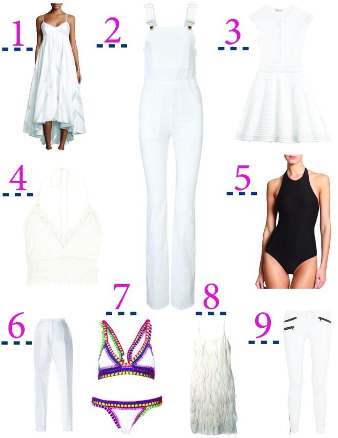 1. Milly Trapeze Dress, $270 // 2. Frame Denim Overalls, $220. // 3. RED Valentino Dress, $479. // 4. River Island White Halter, $40. // 5. Alix Halter Bodysuit, $175. // 6. Azede Jean-Pierre Pencil Leg Pant, $550. // 7. Kiini Yaz Bikini, $300. // 8. Jean Louis Scherrer Vintage Embroidered Slip Dress // 9. Rag & Bone Jeans, $151.80.