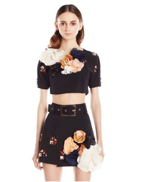 Harbison SS15 Embellished Crop Tee and Skirt