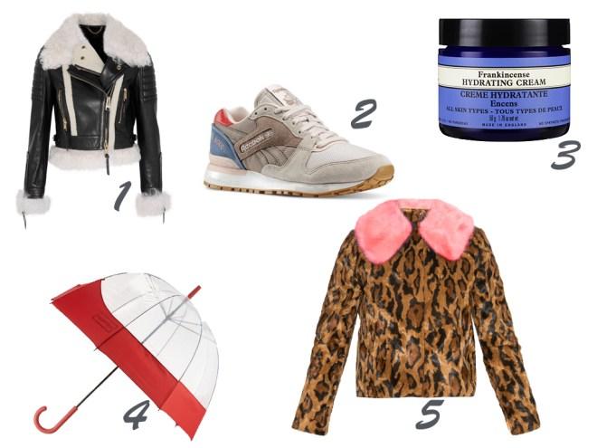one. shearling biker jacket, BURBERRY PRORSUM | two. leather trainer, REEBOK | three. hydrating face cream, NEAL'S YARD | four. umbrella, HUNTER BOOT | five. jaguar faux fur coat, SHRIMPS