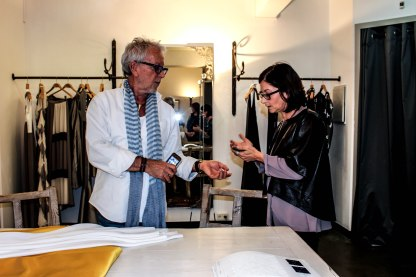 Designer with his daughter, Karen Oberson.