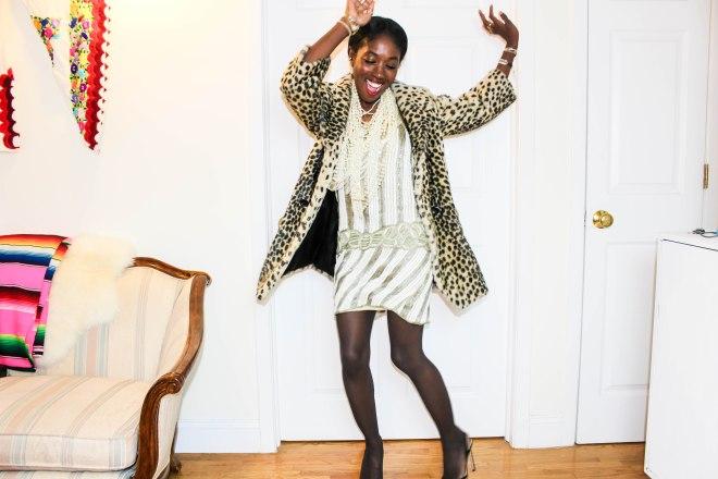 Nneya Richards Topshop Leopard Coat