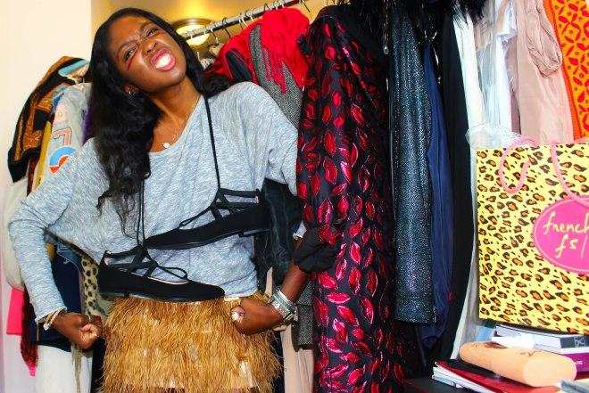 sweatshirt, TOPSHOP. skirt, COLETTE PARIS. shoes, FRENCH SOLE, NY.