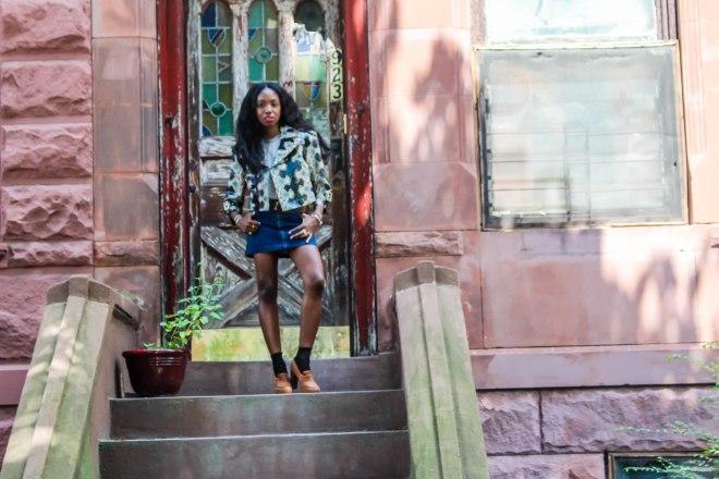 skirt, hudson jeans. t-shirt & shoes, topshop. jacket, salvatore ferragamo. socks, h&m.