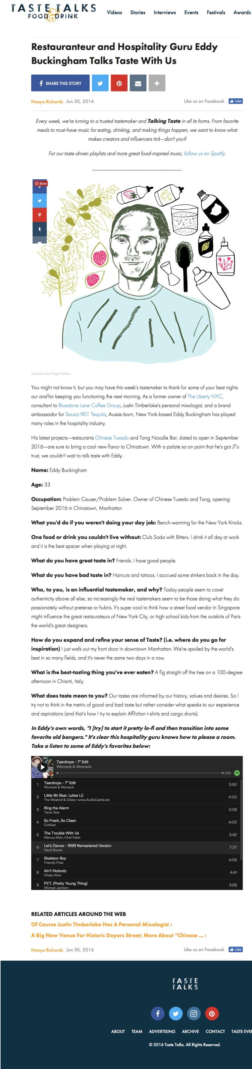 TasteTalks.com - 6.30.16 - Eddy Buckingham
