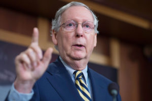 Hang on, Mitch McConnell is thinking of a new constitutional principle. Photo: Tom Williams/CQ-Roll Call,Inc./Getty Images