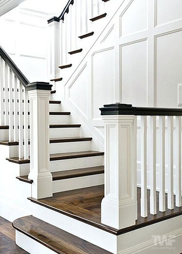 Wood Stair Restorations By Tadas Wood Flooring Naperville Il | Dark Wood Stairs With White Risers | Wall | Beautiful Wood | Wooden | Modern | Floor
