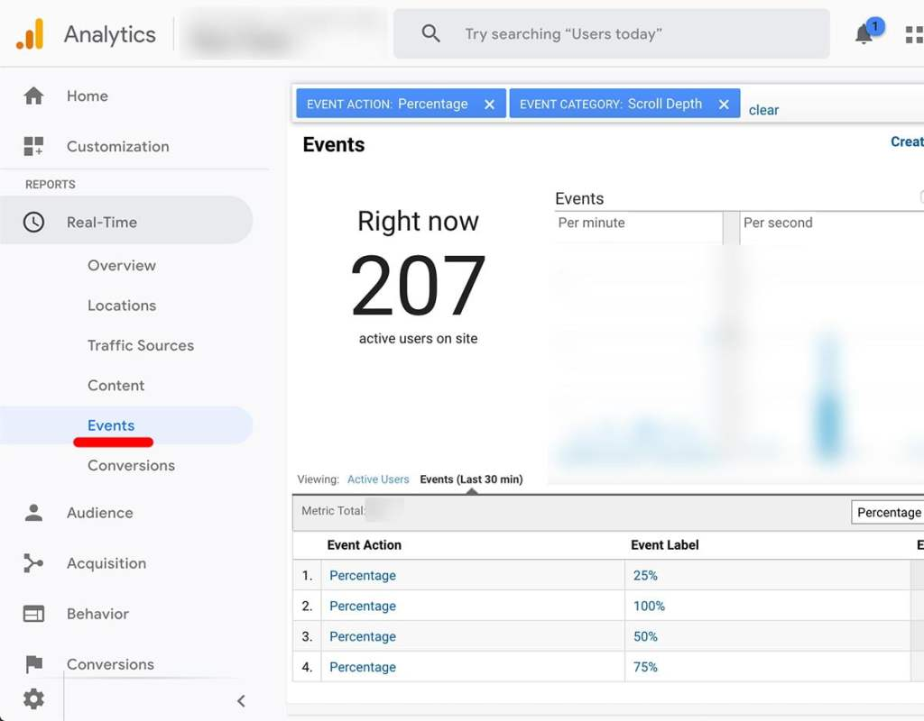 Where to View Real-Time Scroll Tracking Depth Results in Google Analytics