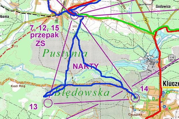 Fragment mapy z wariantami zespołu Eventyr - kliknij, by powiększyć i zobaczyć całą mapę