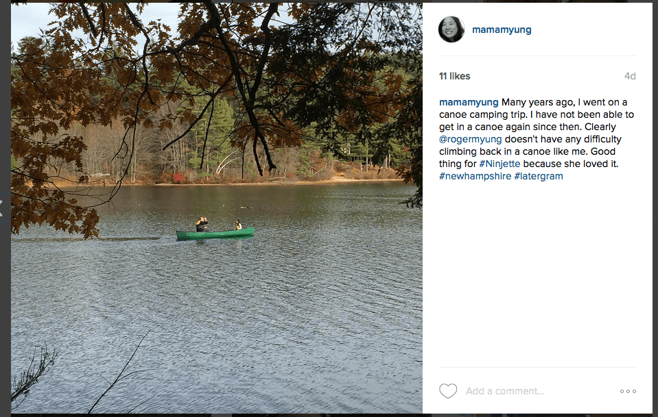 Instagram Photo of Ninjette & Ninja canoeing