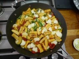 Pichet recipe - gnocci with courgette, mozzarella & garlic butter.