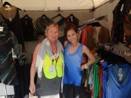 Volunteer Liz Black is a long time friend and fan of fashion artist Herion Park. Taken at 34th annual Naples National Art Festival.