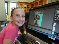 Reilly Schlehr with her Volleyball collage in Photoshop Fun