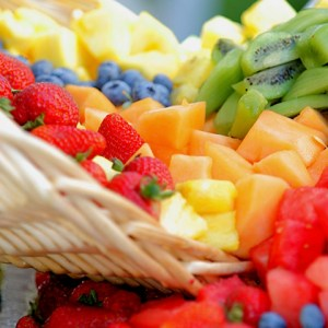 healthy food fruit spilling out of a basket