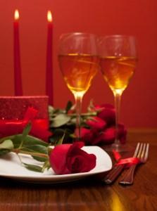 romantic dinner red rose champagne