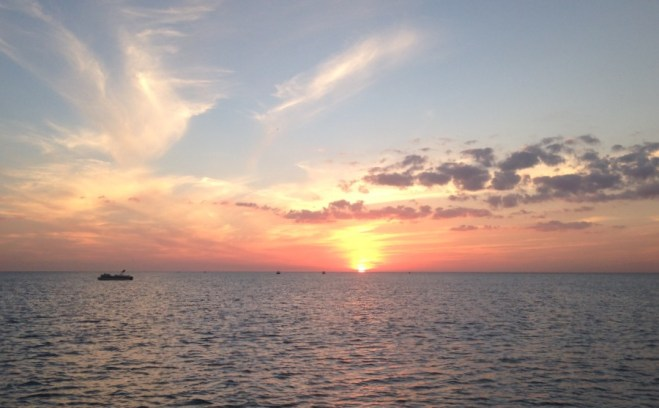Pontoon Rental Boat Sunset