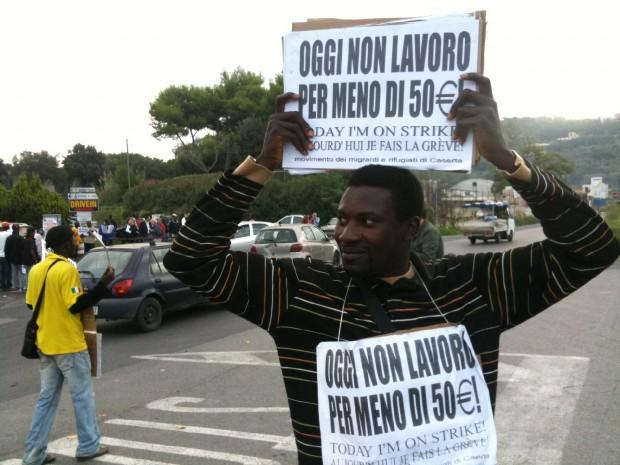 Sciopero degli imigrati a Napoli e Caserta