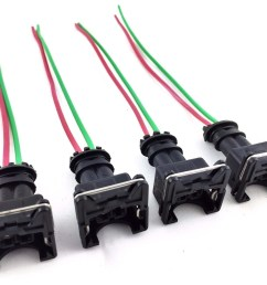 4 rc fuel injector connector wiring harness plug clips bosch ev1 pigtail obd1 gm [ 1600 x 1299 Pixel ]