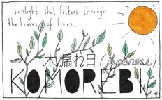 Uma palavra que os japoneses usam para os raios de luz solar que passam por entre as folhas das árvores