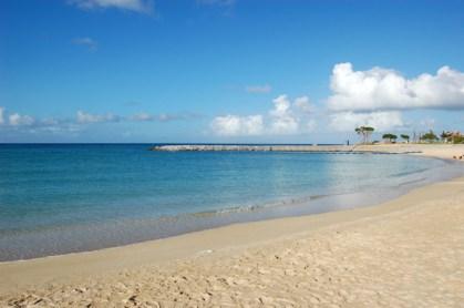 都会のビーチ。でも十分青いです。