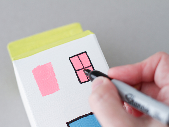 4 flomasterom nacrtajte okvir prozora