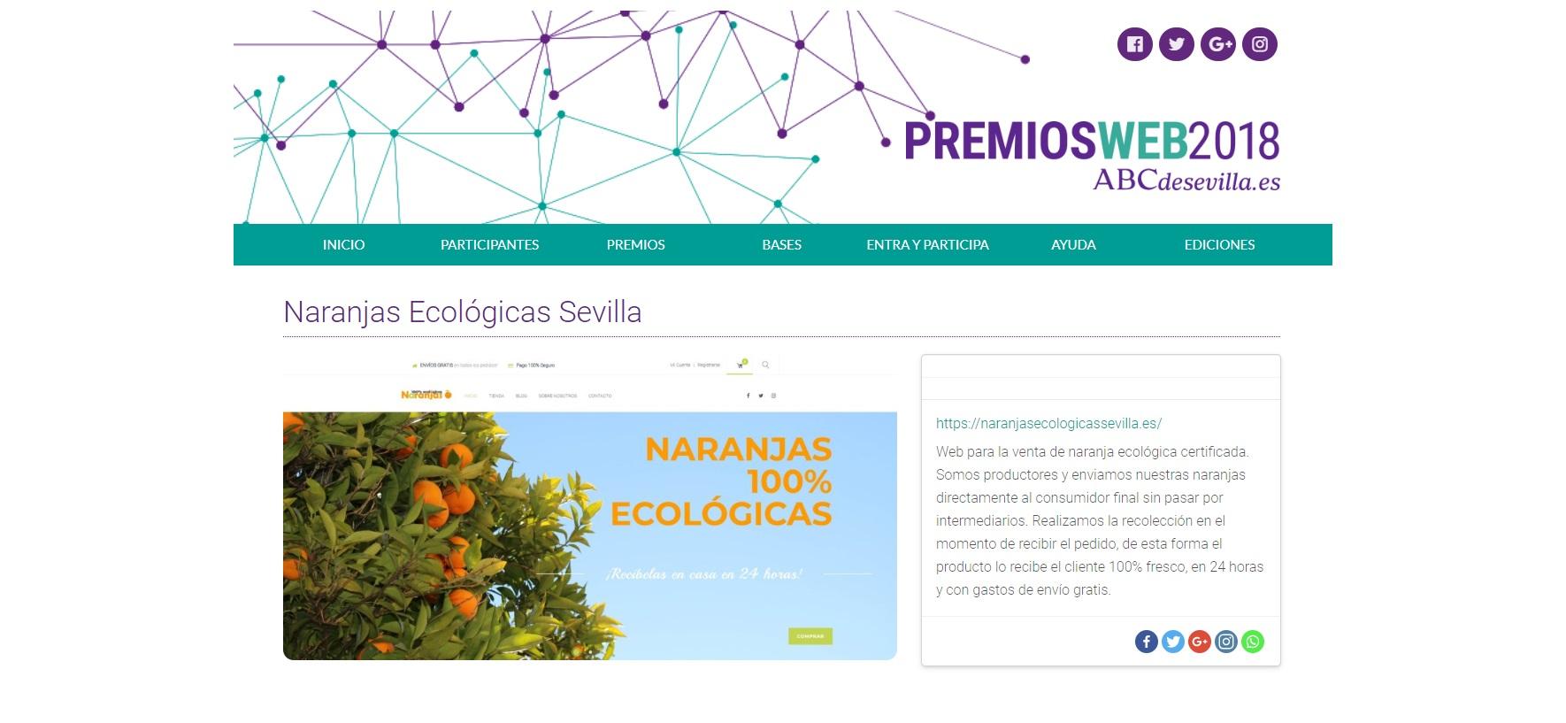 Hemos sido pre-seleccionados en los Premios Web organizados por ABC de Sevilla