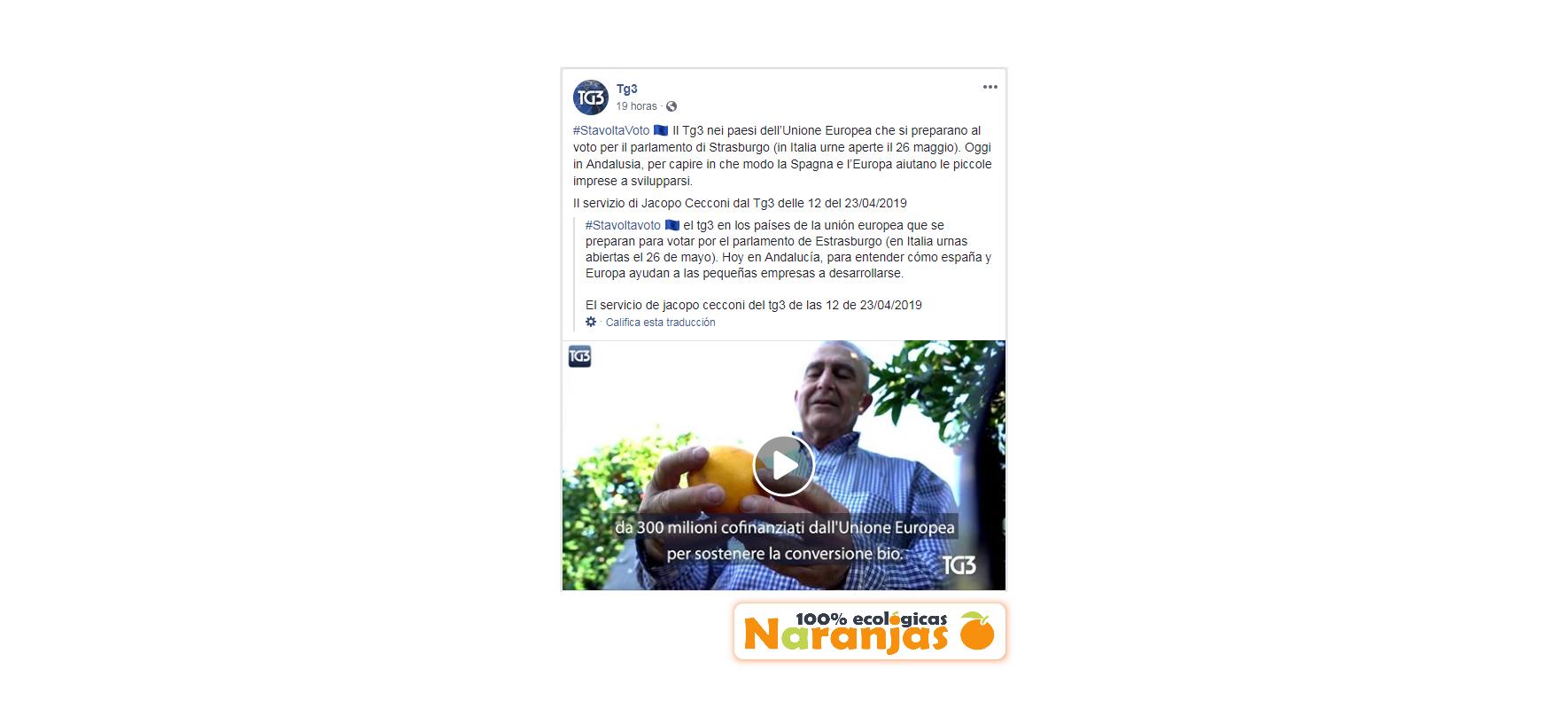 Naranjas Ecológicas Sevilla en la TV RAI de Italia